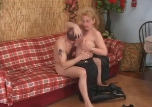 Sweet mom is undressing for her horny son