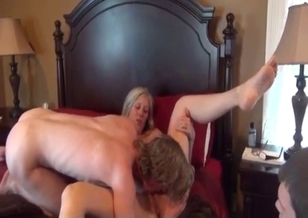 Slender busty mom gets fucked by two sons