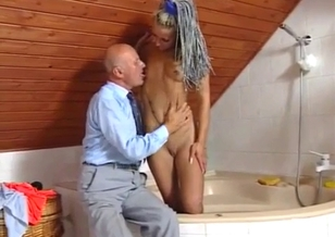 Toned young cutie and her perverted granddad