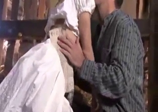 Dad fucks his skinny teen daughter in hayloft