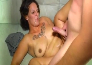 Bald man cums in mouth of his hot sister